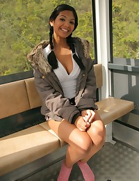 Karla Spice - Barely legal girl turns a ride on funicular railway into a strip show