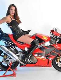 Tall Tranny On A Motorbike