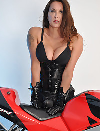 Tall Tranny On A Motorbike