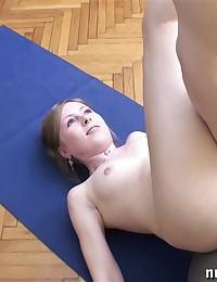 Nude fitness balancing and sport pussy rubbing