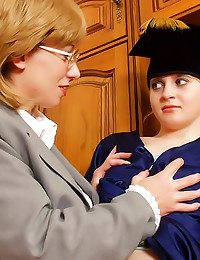 Lesbian strapon with mature teacher