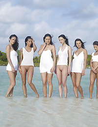There are six beautiful girls outdoors and they're modeling for Hegre.