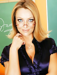 Teacher in satin blouse fucke...