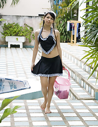 Petite Asian Maid Gets Wet