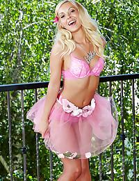Teen in pink lingerie