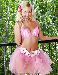 Teen in pink lingerie