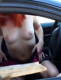 Teen girl rides cock in car