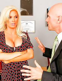 Busty bimbo teacher railed