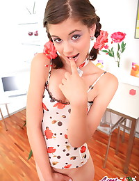 Little Caprice - Girlie in stockings shows her perfect booty and spreads legs for you