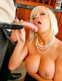Horny blonde office girl screwed