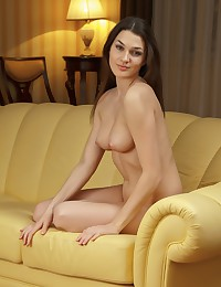 Sexy brunette plays on her couch.