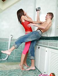 Hot 18yo teen Caprice pissing in toilet