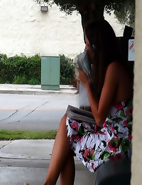 Squirting on girl in public