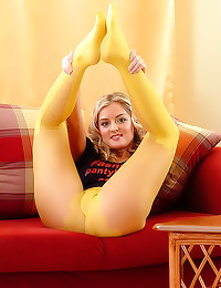 Her yellow pantyhose are sexy