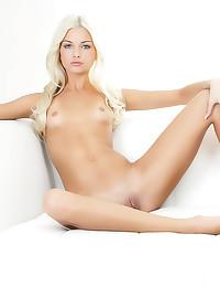 Skinny blue eyed blonde dildo...