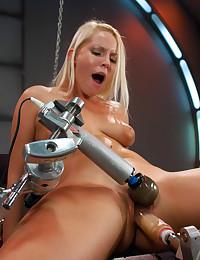 Horny Blonde Beauty Fucks Sex Machine