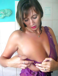 Mature showers in lingerie
