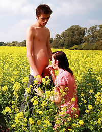 Beautiful teen sex in field