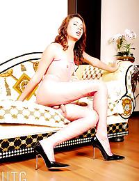 Hot lingerie on solo tgirl