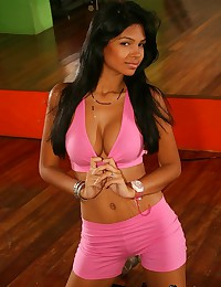 Karla Spice - Attractive young bunny posing in pink work out outfit
