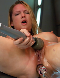 Rain DeGrey machine fucked double penetration and hard anal pounding until the soft spoken blonde is a screaming demon in a total orgasm exorcism.