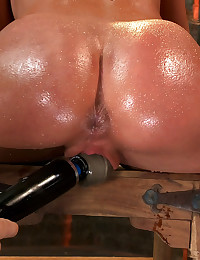 Amy Brooke has her amazing gaping ass fucked with a huge dildo and then plugged with a ass hook. Is made to cum and squirt so hard her ass rosebuds!