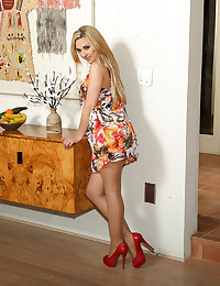 Blonde Sophia Knight in dress and stockings erotic poses and striptease