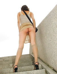 Up her skirt outdoors