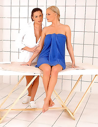 Lesbian massage of big boobs