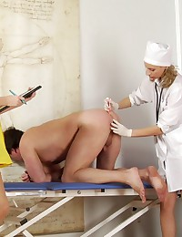 Male physical carried out by femdom sluts