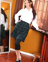 Seductive Italian schoolgirl striptease