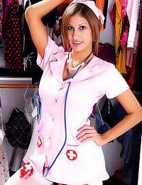 Busty nurse uniform tease