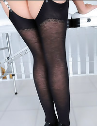 Black wool stockings on milf