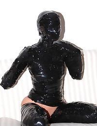 Girl covered in latex tape