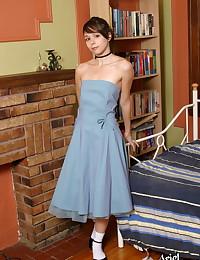 Ariel Rebel - Pretty teen smut wearing a sexy blue dress