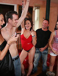 Sexy party girls enjoy his dick