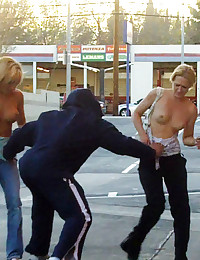 Girls sharked, stripped and pantsed in public!