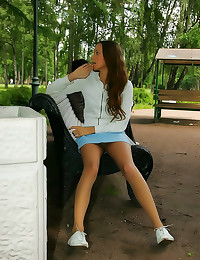 Girl in public models pantyho...