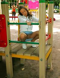 Girl in public models pantyho...