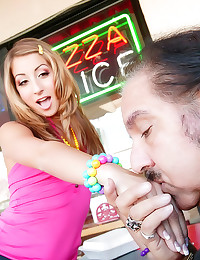 Young lady blows Ron Jeremy