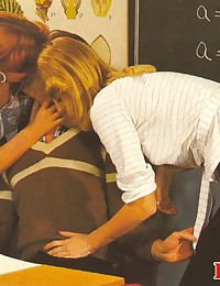 Two seventies girls pleasing the teacher cock