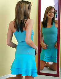 Andi Pink - Sensational teen bitch in slutty blue dress