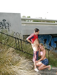Blonde girl is having sex near the highway