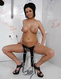 Big tits posing in bathroom