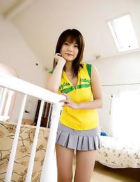 Japanese girl lounges naked o...
