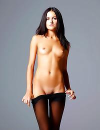Striptease from black pantyhose