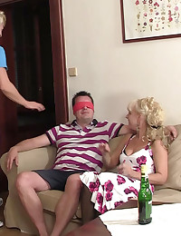 His parents are happy to have his girlfriend over and fuck her with daddy's big cock