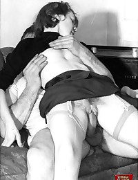 Hot vintage couples having horny sex pictures