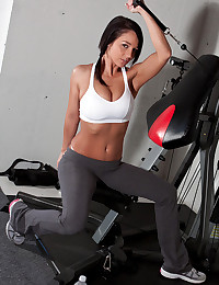 Workout with busty girl