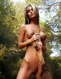 Skinny big tits girl is creekside